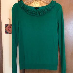 Green ruffle top sweater